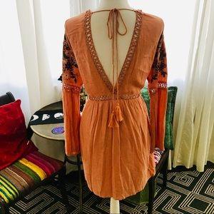 Boho Dress long sleeve embroidered flowers size M